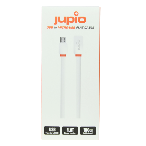 Afbeelding van Jupio Flat Cable Micro USB to USB WHITE 1M