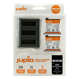 Afbeelding van Jupio Value Pack: 2x Battery DJI Osmo Action AB1 1220mAh + Compact USB Triple Charger