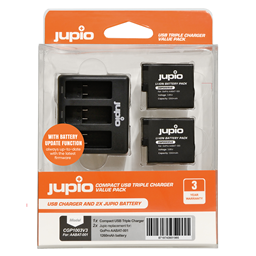 Afbeelding van Jupio Value Pack: 2x Battery GoPro HERO5/6/7, HERO (2018) AHDBT-501 1260mAh + Compact USB Triple Charger (update version)
