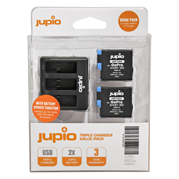Afbeelding van Jupio Value Pack: 2x Battery GoPro HERO8 AHDBT-801 1260mAh + Compact USB Triple Charger (update version)