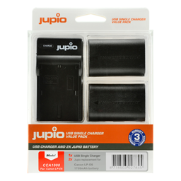 Afbeelding van Jupio Value Pack: 2x Battery LP-E6 1700mAh + USB Single Charger