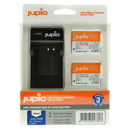 Afbeelding van Jupio Value Pack: 2x Battery Li-90B/Li-92B 1270mAh + USB Single Charger