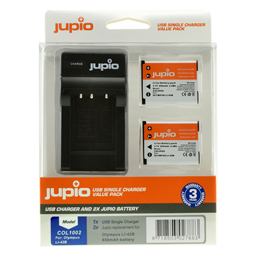 Afbeelding van Jupio Value Pack: 2x Battery Li-40B/Li-42B/NP45/D-Li63/EN-EL10 + USB Single Charger