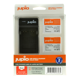 Afbeelding van Jupio Value Pack: 2x Battery NB-6LH + USB Single Charger