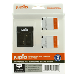 Afbeelding van Jupio Value Pack: 2x Battery GoPro AHDBT-302 HERO3+ 1200mAh + Compact USB Dual Charger