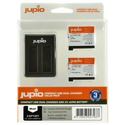 Afbeelding van Jupio Value Pack: 2x Battery GoPro AHDBT-401 HERO4 1160mAh + Compact USB Dual Charger
