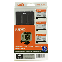 Afbeelding van Jupio Value Pack: 3x Battery GoPro AHDBT-401 HERO4 1160mAh + Compact USB Triple Charger